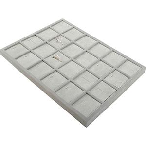 Insats till liten kassett:24x Ring Ljusgrå mellanrum / ljusgrå kuddar i velour 207 x 274