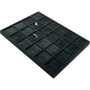 Insats till liten kassett:24x Ring Mörkgrå mellanrum / mörkgrå kuddar i velour 207 x 274