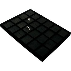 Insertion pour petit plateau : 24 bagues larges Cloison noire / Coussins en similicuir noir 207 x 274