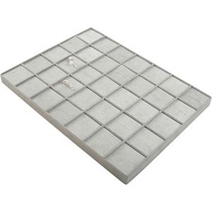 Insertion pour petit plateau : 35 bagues Cloison gris clair/ Coussins en velours gris clair 207 x 274