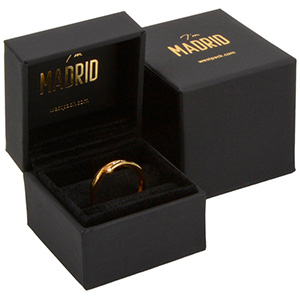 Madrid Jewellery Box for Ring Matt Black Soft-touch / Black Velour Interior 49 x 49 x 40