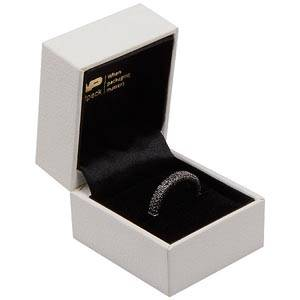 Oslo Jewellery Box for Ring White Leatherette / Black Velour Interior 46 x 52 x 43 (41 x 41 x 30 mm)