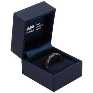 Oslo Jewellery Box for Ring Dark Blue Leatherette / Dark Blue Velour Interior 46 x 52 x 43 (41 x 41 x 30 mm)