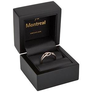 Montreal écrin pour bague Bois noir mat / Intérieur similicuir noir 62 x 62 x 55 (44 x 44 x 29 mm)