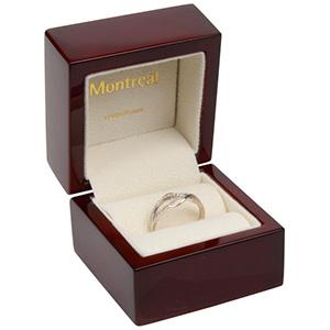 Montreal Jewellery Box for Ring Glossy Mahogany Wood/ Cream Velour Interior 62 x 62 x 55 (44 x 44 x 29 mm)