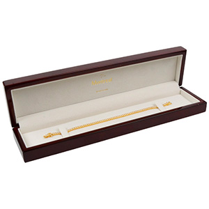 Montreal Jewellery Box for Bracelet, rectangular Glossy Mahogany Wood/ Cream Velour Interior 250 x 57 x 32 (235 x 42 x 22 mm)