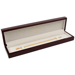 Montreal aflang smykkeæske til armbånd Blanklakeret mahognibrun træ/ Creme velourindsats 250 x 57 x 32 (235 x 42 x 22 mm)