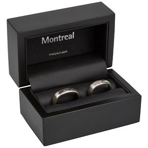 Montreal opakowania na obrączki Czarne matowe/ drewniane / czarna wkładka 85 x 55 x 55 (68 x 37 x 41 mm)