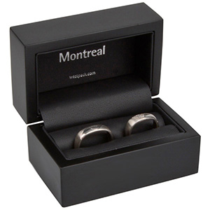 Montreal écrin pour alliances Bois noir mat / Intérieur similicuir noir 85 x 55 x 55 (68 x 37 x 41 mm)