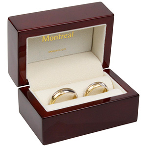 Montreal Jewellery Box for Wedding Rings Glossy Mahogany Wood/ Cream Velour Interior 85 x 55 x 55 (68 x 37 x 41 mm)