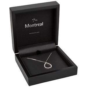 Montreal smykkeæske til vedhæng/ armbånd/ armring Mat sortlakeret træ / Sort indsats i kunstlæder 100 x 100 x 41 (81 x 81 x 25 mm)