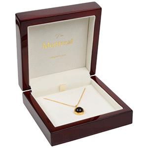 Montreal écrin pour bracelet/grand pendentif Bois mahogani laqué / Intérieur velours crème 100 x 100 x 41 (81 x 81 x 25 mm)