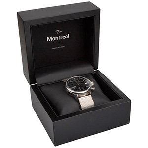 Montreal opakowania na bransoletki, zegarki Czarne matowe/ drewniane / czarna wkładka 125 x 115 x 87 (103 x 93 x 72 mm)