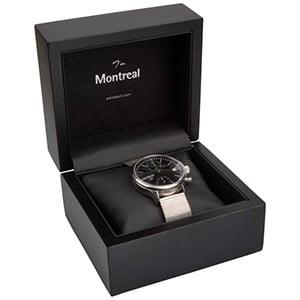 Montreal smykkeæske til ur/ armbånd/ armring Mat sortlakeret træ / Sort indsats i kunstlæder 125 x 115 x 87 (103 x 93 x 72 mm)