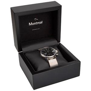 Montreal Jewellery Box for Watch Matt Black Wood/ Black Leatherette Interior 125 x 115 x 87 (103 x 93 x 72 mm)