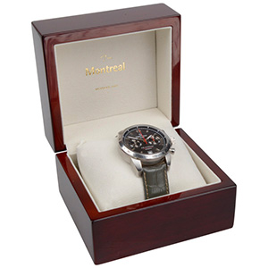 Montreal smykkeæske til ur/ armbånd/ armring Blanklakeret mahognibrun træ/ Creme velourindsats 125 x 115 x 87 (103 x 93 x 72 mm)