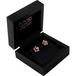 Montreal Jewellery Box for Earrings/ Stud Earrings Matt Black Wood/ Black Leatherette Interior 65 x 65 x 40 (50 x 50 x 24 mm)