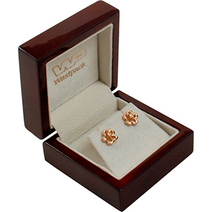 Montreal Jewellery Box for Earrings/ Stud Earrings Glossy Mahogany Wood/ Cream Velour Interior 65 x 65 x 40 (50 x 50 x 24 mm)