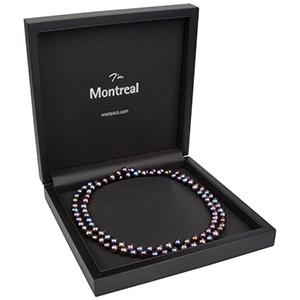 Montreal écrin pour collier / parure Bois noir mat / Intérieur similicuir noir 200 x 200 x 49 (179 x 179 x 28 mm)