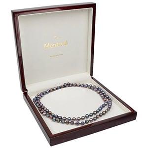Montreal smykkeæske til collier/ halskæde Blanklakeret mahognibrun træ/ Creme velourindsats 200 x 200 x 49 (179 x 179 x 28 mm)
