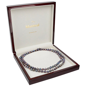 Montreal Jewellery Box for Necklace Glossy Mahogany Wood/ Cream Velour Interior 200 x 200 x 49 (179 x 179 x 28 mm)