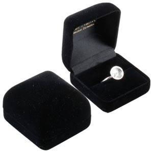 Baltimore Jewellery Box for Ring Black Flocked Plastic / Black Velour Interior 50 x 53 x 42 (45 x 44 x 31 mm)