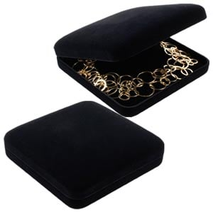 Baltimore Jewellery Box for Necklace Black Flocked Plastic / Black Velour Interior 160 x 160 x 44 (153 x 150 x 27 mm)