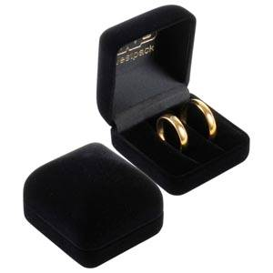 Baltimore Jewellery Box for Wedding Rings Black Flocked Plastic / Black Velour Interior 50 x 53 x 42 (45 x 44 x 31 mm)