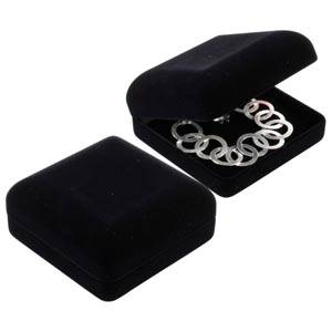 Baltimore Jewellery Box for Pendant / Bangle Black Flocked Plastic / Black Velour Interior 91 x 91 x 41 (87 x 82 x 34 mm)