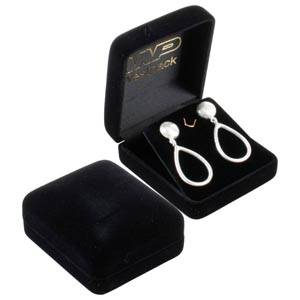 Baltimore Jewellery Box for Earrings / Studs Black Flocked Plastic / Black Velour Interior 58 x 66 x 27 (53 x 56 x 17 mm)