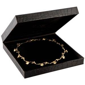 Sydney écrin pour collier / parure, petit Similicuir noir croco/ Intérieur velours noir 157 x 157 x 35 (153 x 148 x 23 mm)