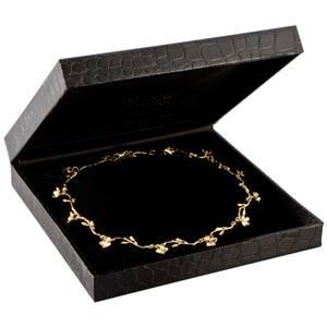 Sydney lille smykkeæske til collier Sort krokodille kunstlæder / Sort velourindsats 157 x 157 x 35 (153 x 148 x 23 mm)
