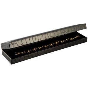 Sydney sieradendoosje voor armband Zwart croco kunstleer / Zwart velours interieur 227 x 50 x 26 (222 x 39 x 22 mm)