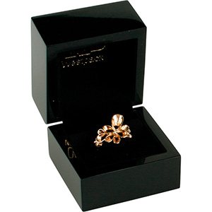 Berlin Jewellery Box for Ring Glossy Black Wood / Black Velour Interior 60 x 60 x 50 (44 x 45 x 40 mm)
