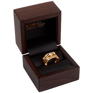 Berlin smyckesask till ring Matt valnöts look/Svart nabuca insats 60 x 60 x 50 (44 x 45 x 40 mm)