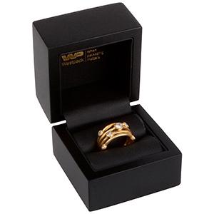 Berlin Jewellery Box for Ring Matt Black Wood / Black Leatherette Interior 60 x 60 x 50 (44 x 45 x 40 mm)