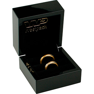 Berlin Jewellery Box for Wedding Rings Glossy Black Wood / Black Velour Interior 70 x 70 x 52 (55 x 53 x 40 mm)