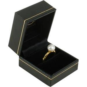 Bombay Jewellery Box for Ring Black leatherette with gold tooling/ Black insert 47 x 52 x 39 (43 x 45 x 34 mm)