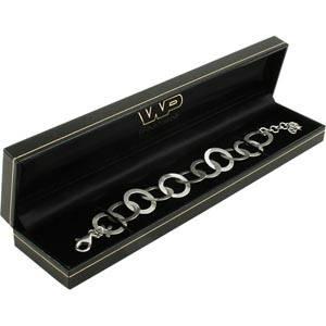 Bombay Jewellery Box for Bracelet, rectangular Black leatherette with gold tooling/ Black insert 227 x 50 x 26 (222 x 39 x 22 mm)