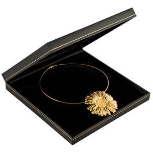 Bombay Jewellery Box for Necklace, Large Black leatherette with gold tooling/ Black insert 191 x 194 x 35