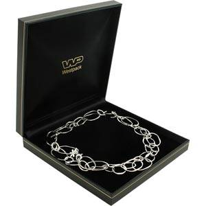 Bombay Jewellery Box for Necklace, with storage Black leatherette with gold tooling/ Black insert 157 x 157 x 35 (153 x 148 x 23 mm)