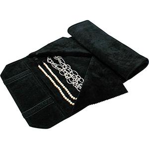 Trousse-rouleau 16 colliers, languettes pressions Velours noir 655 x 290 x 700 (620 x 235 mm)
