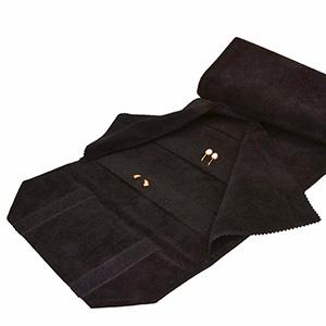 Trousse-rouleau 72 boucles d'oreilles Velours noir 230 x 45 (630 x 210 mm)