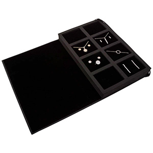 Kollektionsmappe für Schmuck Schwarzes Kraftpapier / Schwarze Pigstoffkissen 180 x 286 x 34