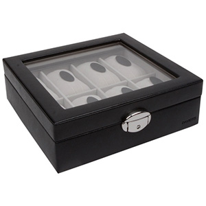 Kunstleren horlogebox met venster, voor 8 stuks