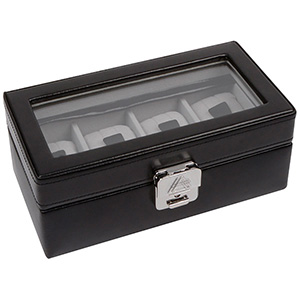 Presentation box 4 Watches, leather Black Leather / Grey Velour 218 x 114 x 87 4 x (46 x 94 mm)