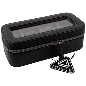 Kunstleren horlogebox voor 4 horloges Zwart Kunstleer / Grijs velours Interieur 327 x 210 x 86 12 x (49 x 94 mm)