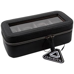 Kunstleren horlogebox voor 4 horloges Zwart PVC met rits/ donkergrijs velours interieur 327 x 210 x 86 12 x (49 x 94 mm)