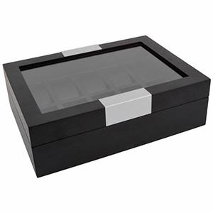 Houten Horlogebox met venster, voor 10 horloges Zwart Hout / Zwart nappa kunstleer 315 x 233 x 96 10 x (43 x 83 mm)