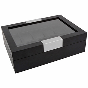 Watch Case with Window, for 10 Watches Black Wood / Black leatherette Interior 315 x 233 x 96 10 x (43 x 83 mm)